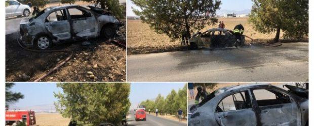 Alayköy'de kaza! Çarpmanın etkisiyle araç alev aldı